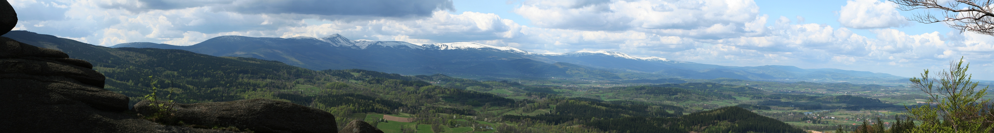 Panorama of the Karkonosze (Giant Mountains) and the Izera Mountains from the Rudawy Janowickie