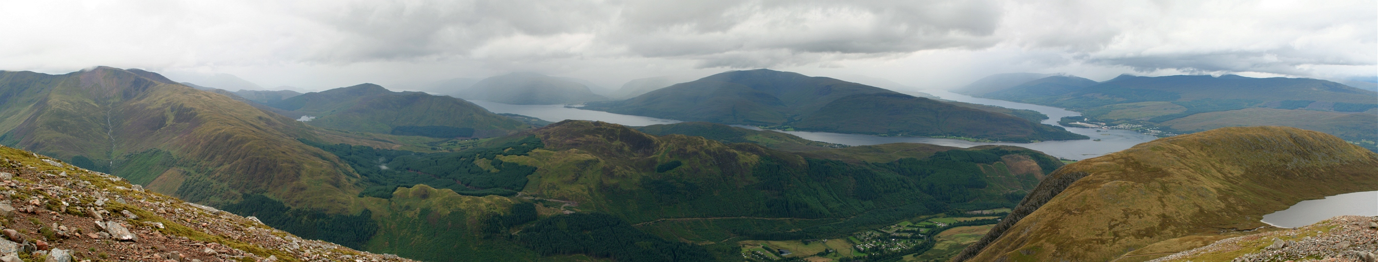 Panorama from the western slope of Ben Nevis, the highest mountain in the British Isles
